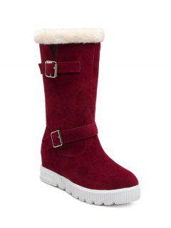 Double Buckles Platform Snow Boots - Red 38