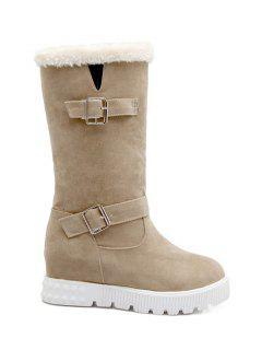 Double Buckles Platform Snow Boots - Apricot 38