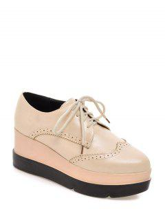 Lace-Up Platform Engraving Wedge Shoes - Light Apricot 38