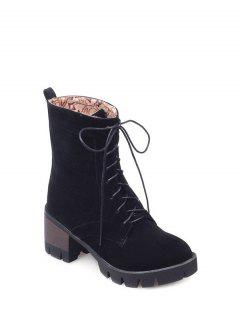 Lace-Up Chunky Heel Combat Boots - Black 38