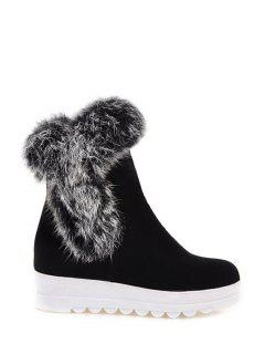 Faux Fur Platform Short Boots - Black 37