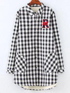 Plus Size Fleece Lining Checked Shirt - White And Black Xl