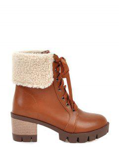 Faux Shearling Chunky Heel Boots - Brown 38