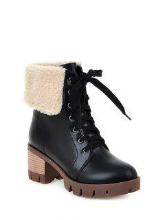 Faux Shearling Chunky Heel Boots - Black 38