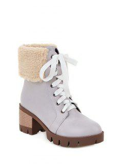 Faux Shearling Chunky Heel Boots - Gray 38