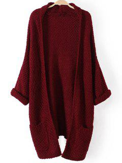 Pockets Knitted Long Cardigan - Wine Red