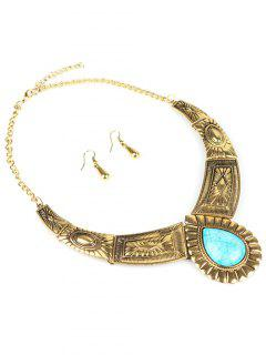 Faux Turquoise Jewelry Set - Golden
