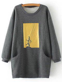 Plus Size Shadow Puppet Long Sweatshirt - Gray Xl