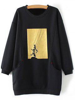 Plus Size Shadow Puppet Long Sweatshirt - Black 2xl