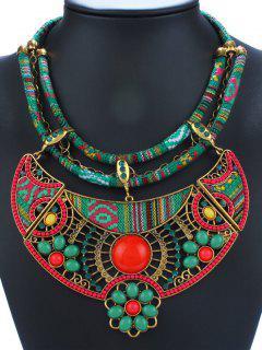 Vintage Enamel Floral Pendant Necklace - Green