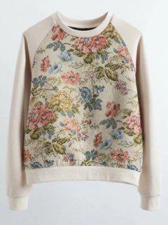 Floral Jacquard Raglan Sleeve Sweatshirt - L