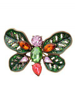 Faux Gem Oval Butterfly Leaf Brooch - Green
