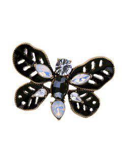 Faux Gem Oval Butterfly Leaf Brooch - Black