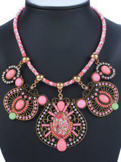 Rhinestone Enamel Geometric Necklace - Pink