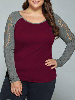 Plus Size Raglan Sleeves Hollow Out T-Shirt - Wine Red 5xl