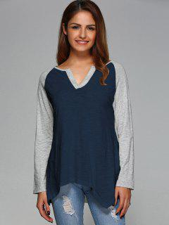 Raglan Sleeve Asymmetrical Tee - Purplish Blue L