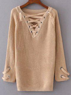 Lace Up V Neck Jumper - Apricot