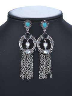 Waterdrop Faux Crysle Tassel Drop Earrings - Silver
