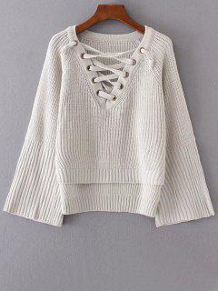 Schnürung Pullover Mit Hohem Niedrigem Saum - Cremeweiß