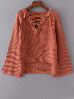 High Low Lace Up Sweater - Brick-red