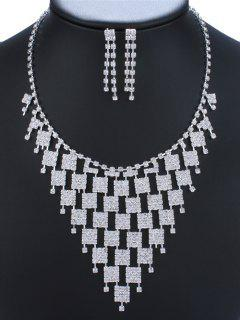 Rhinestone Geometric Adorn Necklace And Earrings - Silver