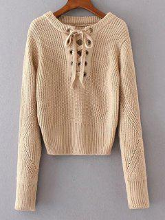 Round Neck Lace Up Jumper - Apricot
