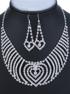 Rhinestone Heart Adorn Necklace And Earrings - Silver
