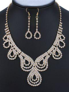 Rhinestone Water Drop Embellished Jewelry Set - Golden