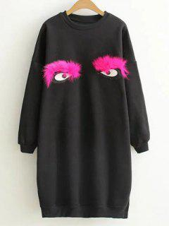 Eye Pattern Sweatshirt Dress - Black