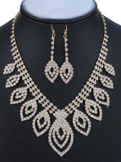 Rhinestoned Leaves Adorn Necklace And Earrings - Golden