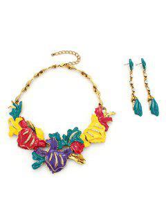 Rhinestone Glaze Embellished Necklace And Earrings