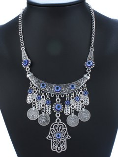 Statement Coin Tassel Geometric Necklace - Blue