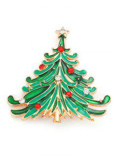 Rhinestone Christmas Tree Pentagram Brooch - Green