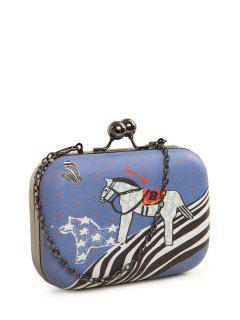 Polka Dot Cartoon Horse Print Evening Bag - Blue