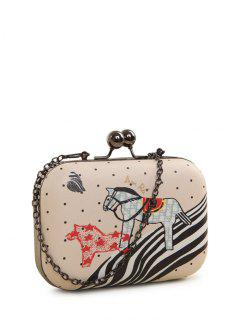Polka Dot Cartoon Horse Print Evening Bag - Pink