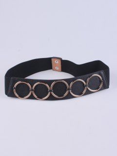 Tiered Matel Buckle Stretch Belt - Black
