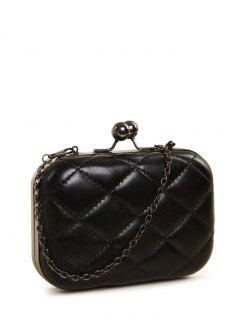Kiss Lock Quilted Evenig Bag - Black