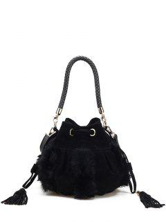Braid Tassel Furry Bucket Bag - Black