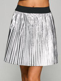 Metallic Color Pleated Mini Skirt - Silver S
