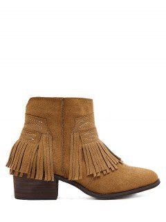 Fringe Zipper Stitching Ankle Boots - Brown 38