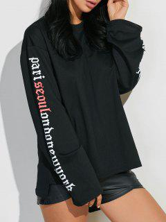 Letter Graphic Sleeve Sweatshirt - Black L