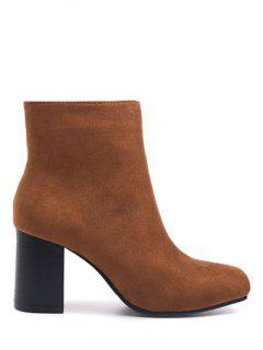 Square Toe Chunky Heel Zipper Ankle Boots - Brown 37