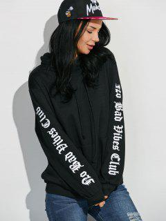 Letter Graphic Sleeve Pullover Hoodie - Black