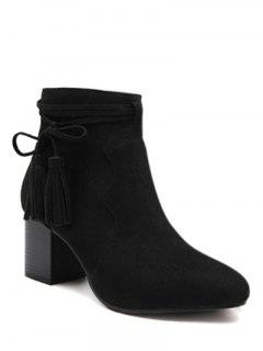 Tassels Zipper Chunky Heel Ankle Boots - Black 37