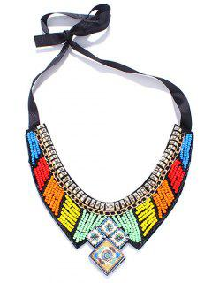 Square Beaded Bib Necklace - Yellow