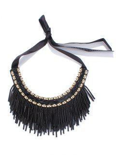 Beaded Tassel Ribbon Necklace - Black