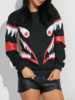 Shark Mouth Imprimer Sweatshirt - Noir M