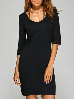 Scoop Neck 3/4 Sleeve Bodycon Dress - Black M