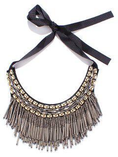 Beaded Tassel Bib Necklace - Silver