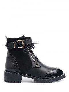 Tie Up Splicing Rivets Ankle Boots - Black 38